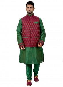 Giccha Silk Kurta Payjama With Jacket in Green
