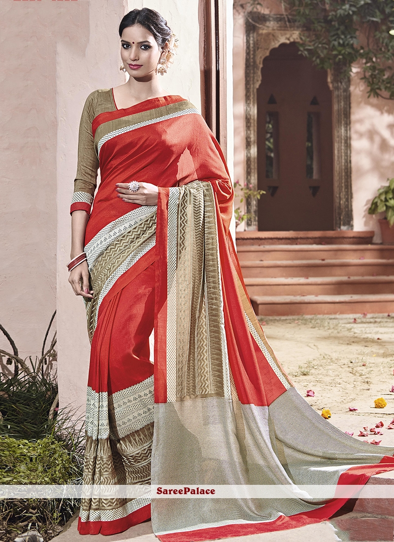 Gilded Art Silk Red Traditional  Saree