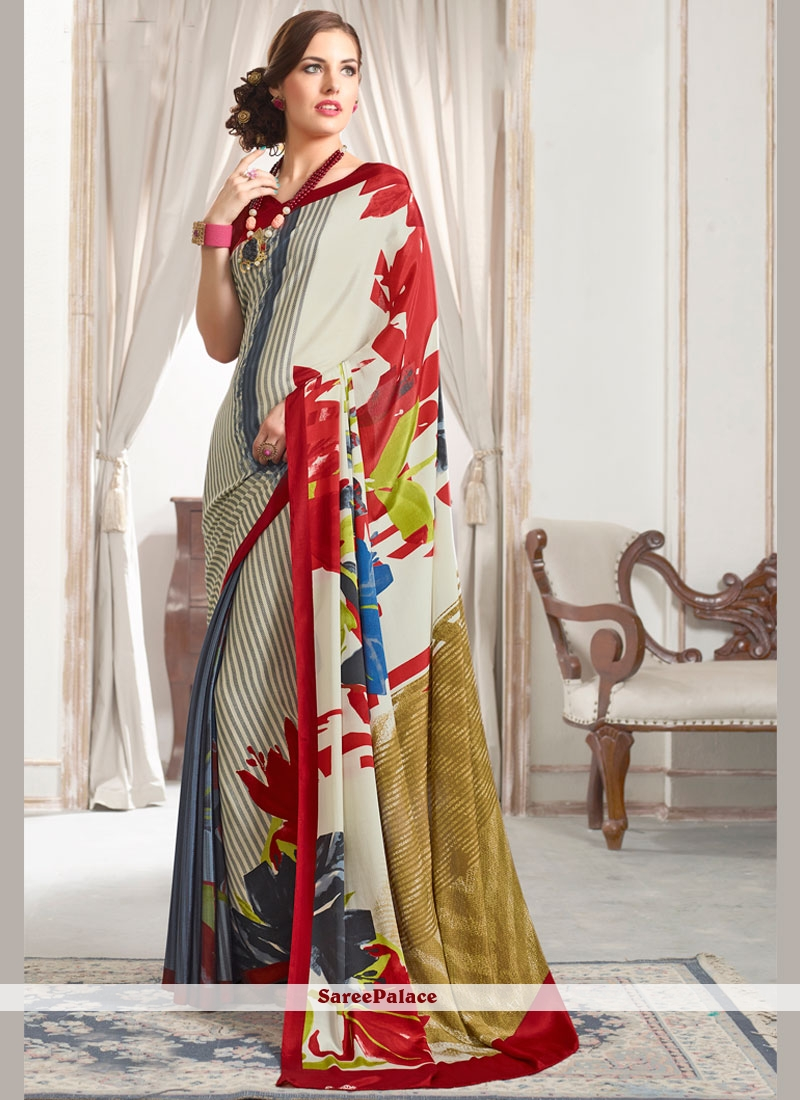 Gilded Faux Crepe Abstract Print Work Printed Saree