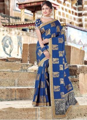 Gilded Traditional Designer Saree For Festival