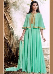 Gilded Turquoise Faux Georgette Designer Floor Length Suit