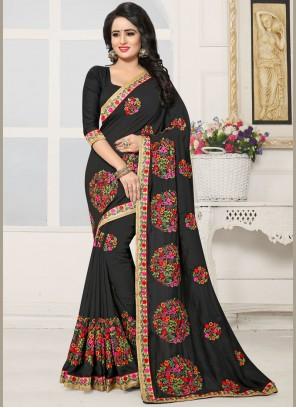 Girlish Black Embroidered Work Silk Designer Saree