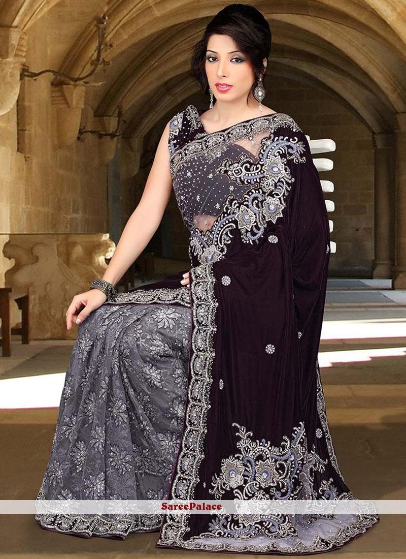 Buy Girlish Brown And Grey Stone Work Velvet Designer Half N Half Saree Online