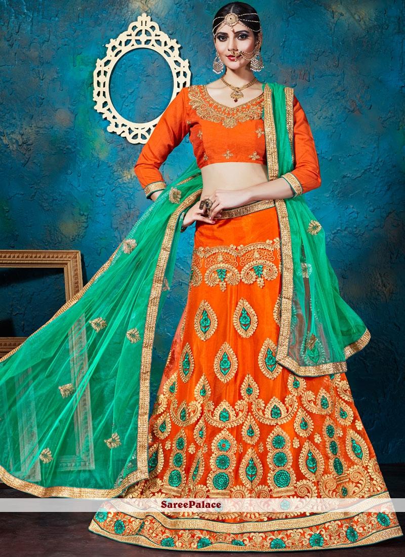d170b0ce75 Buy Girlish Net Orange Lace Work Lehenga Choli Online