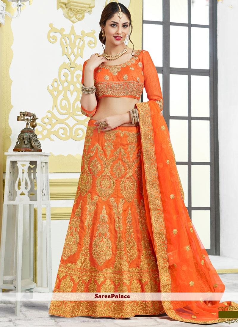 Girlish Orange Resham Work Lehenga Choli