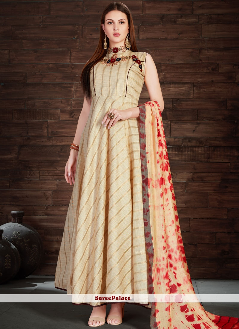 Girlish Silk Cream Embroidered Work Anarkali Salwar Kameez