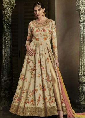 Gleaming Beige Floor Length Anarkali Suit
