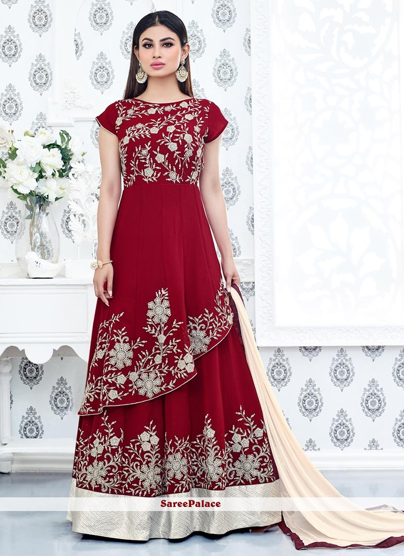 Gleaming Lace Work Faux Georgette Anarkali Suit