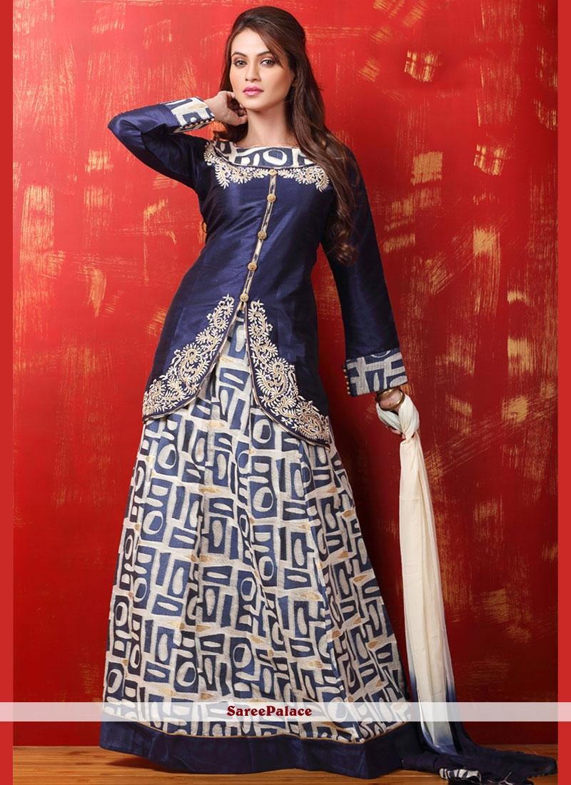 Gleaming Resham Work Dupion Silk Lehenga Choli