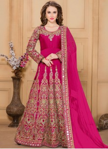 Gleaming Tafeta silk Embroidered Work Designer Floor Length Suit