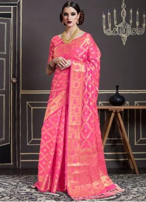 Glitzy Art Silk Pink Traditional  Saree