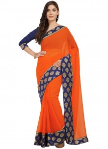 Glitzy Orange Casual Saree