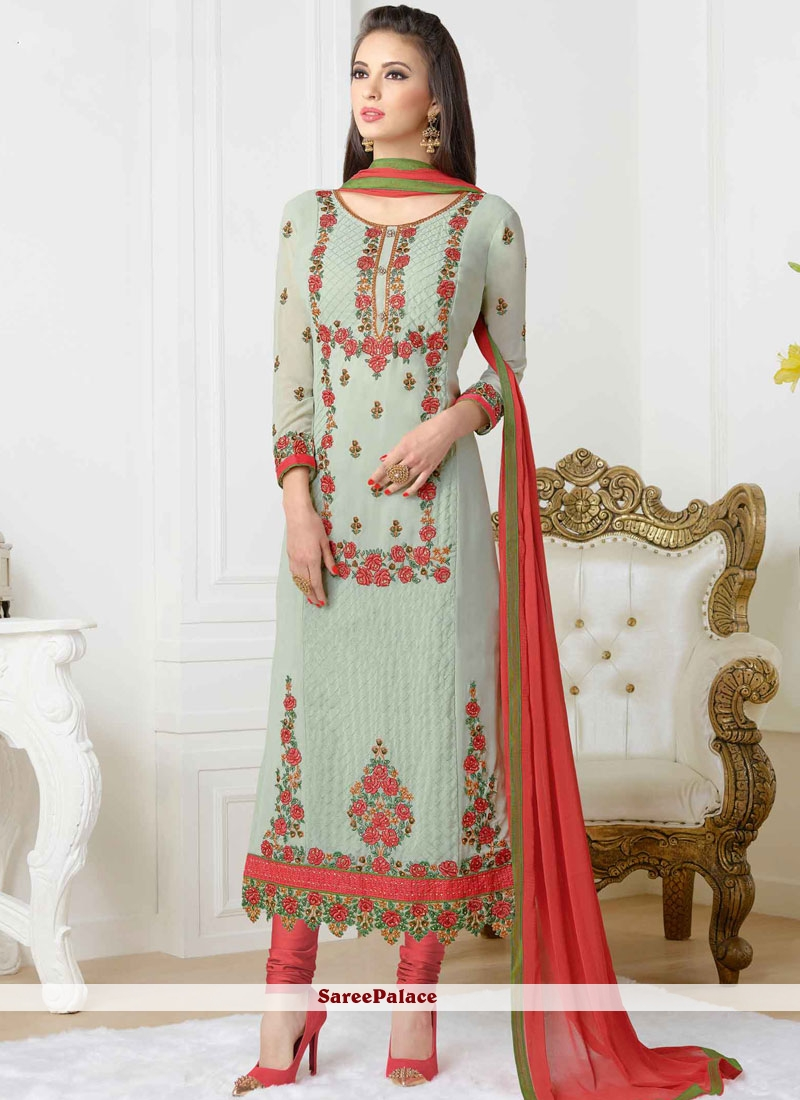 f8f65880c3 Buy Glitzy Stone Work Faux Georgette Green and Red Churidar Designer Suit  Online