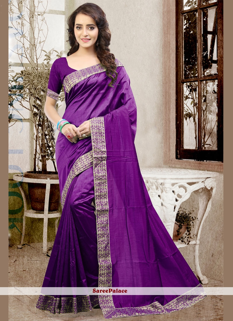 Glorious Art Silk Purple Patch Border Work Designer Traditional Saree
