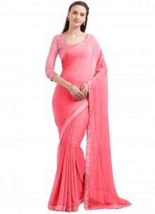 Glorious Lace Work Pink Casual Saree