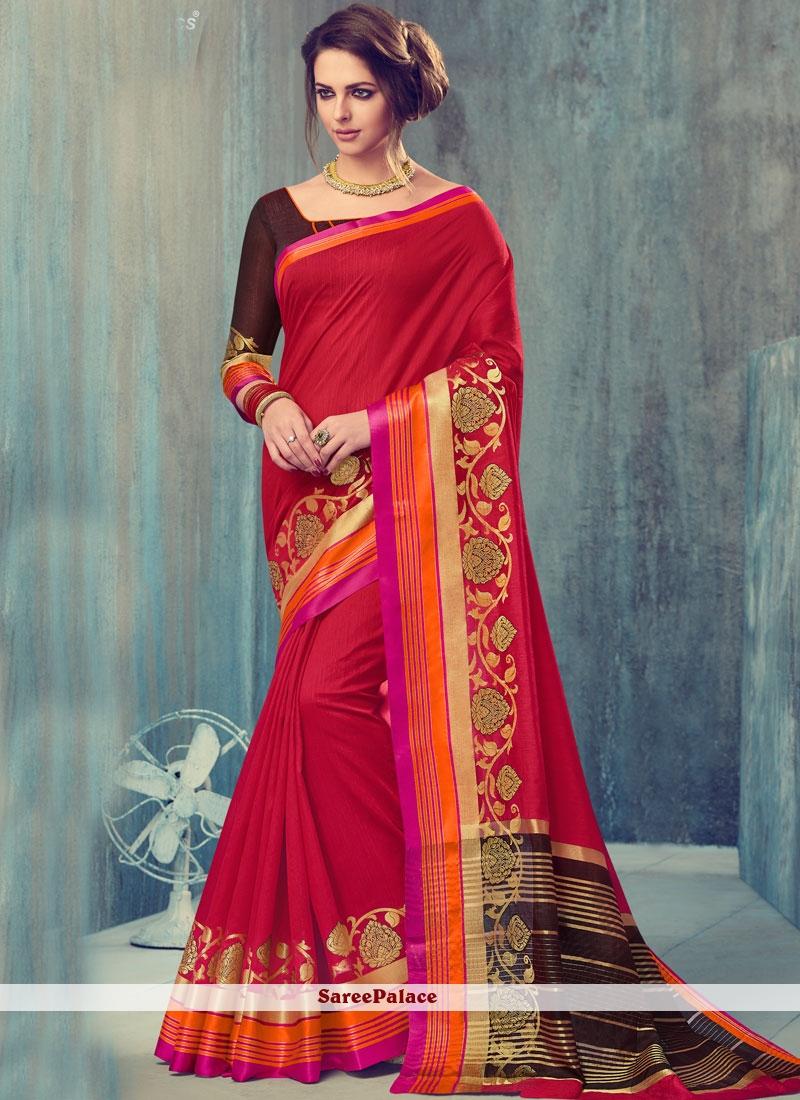 Glorious Red Art Silk Traditional  Saree
