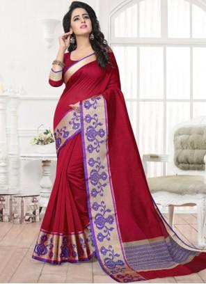 Glossy Banarasi Silk Patch Border Work Silk Saree