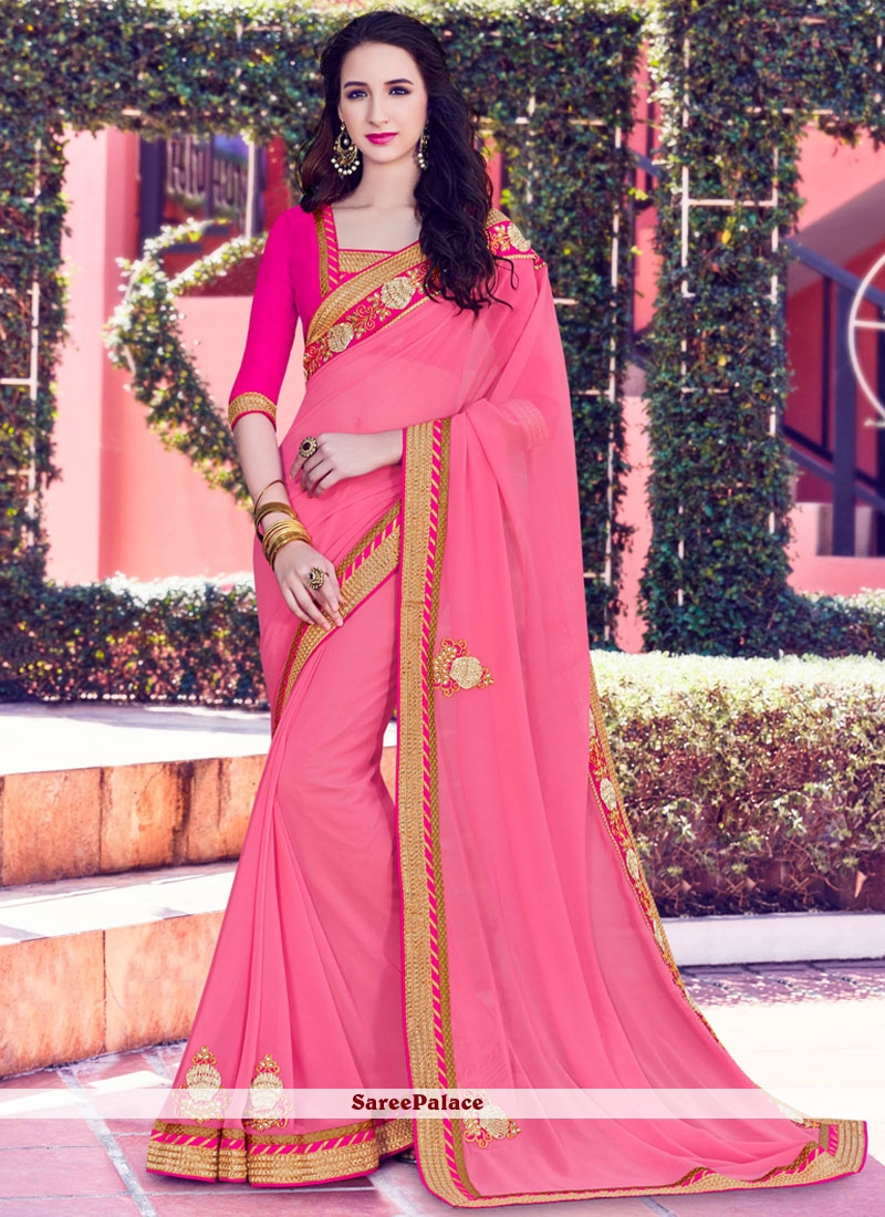 Glossy Pink Classic Saree