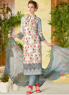 Glossy Print Work Churidar Designer Suit