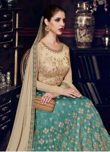 Glossy Zari Work Beige and Sea Green Handloom silk Floor Length Anarkali Suit