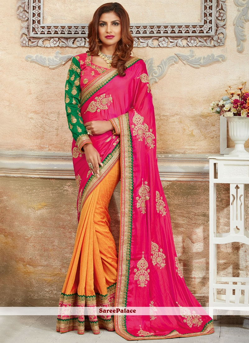 Glowing Art Silk Hot Pink and Off White Designer Traditional Saree