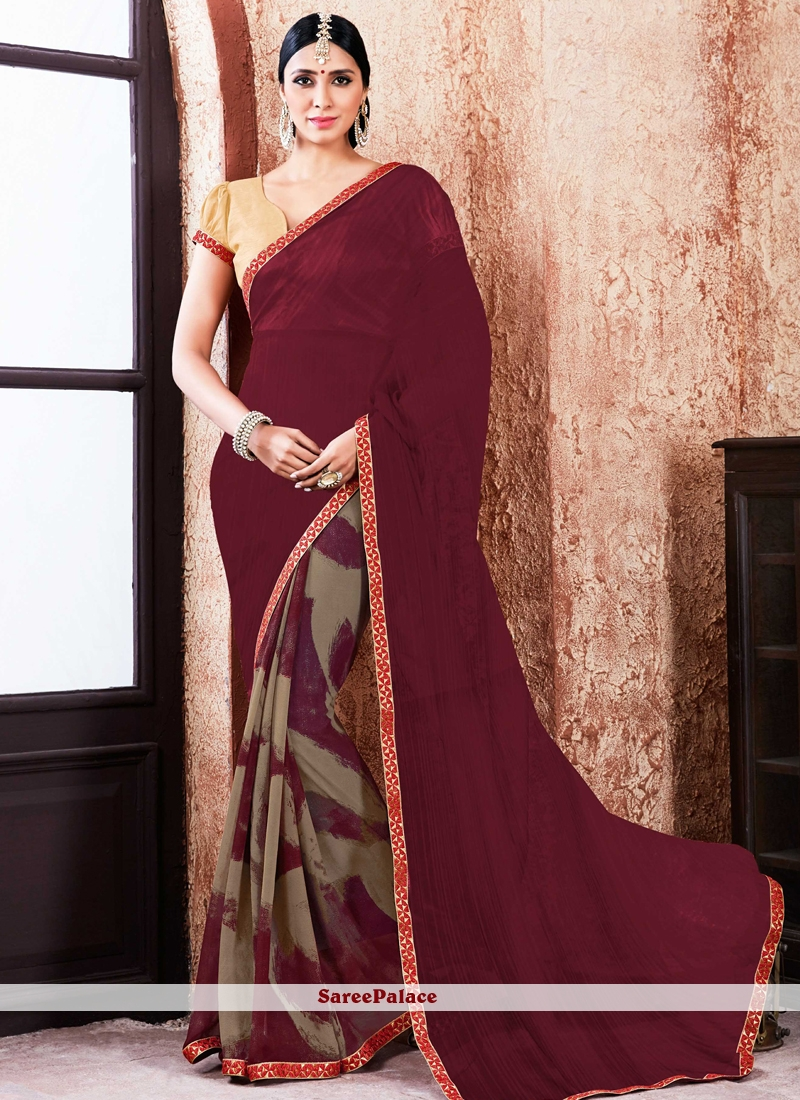 Glowing Faux Georgette Lace Work Printed Saree