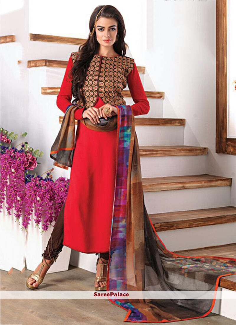 Glowing Faux Georgette Red Embroidered Work Churidar Designer Suit