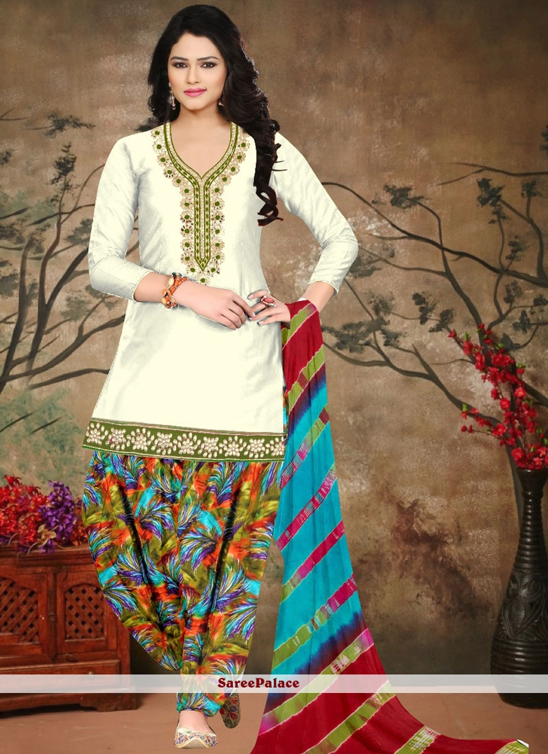 9be224a46a Buy Glowing Multi Colour and Off White Cotton Designer Salwar Suit Online