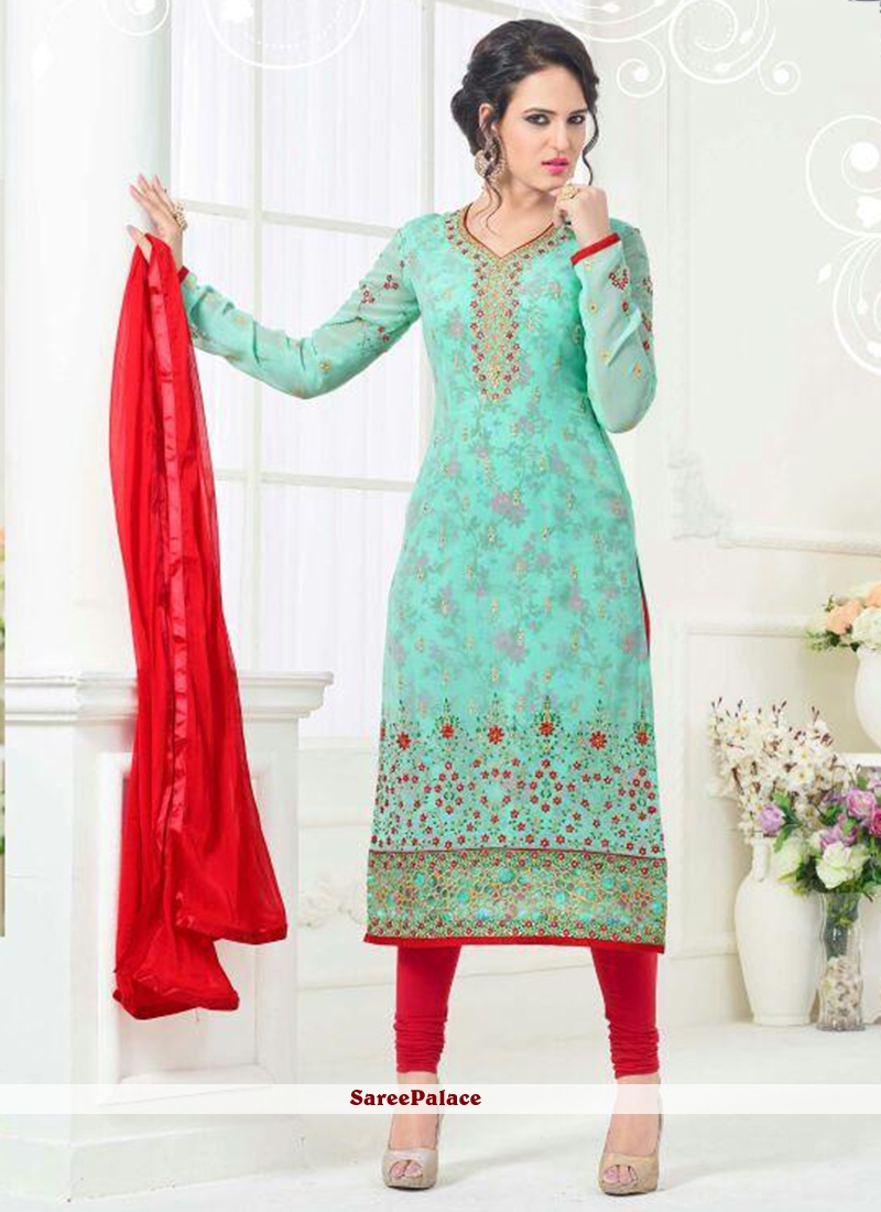 Glowing Red and Turquoise Churidar Designer Suit
