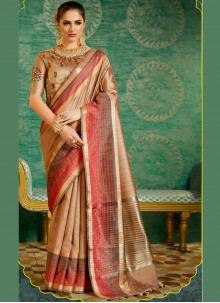 Glowing Silk Cream Designer Saree
