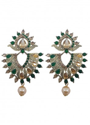 Gold and Green Color Ear Rings