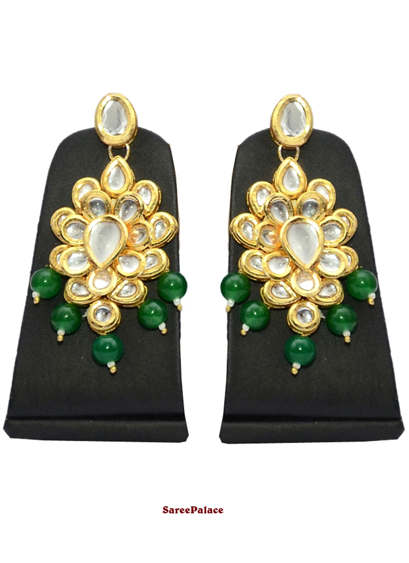 Gold and Green Ear Rings