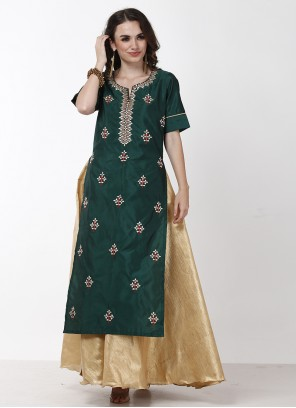 Gold and Green Embroidered Tafeta Silk Indo Western