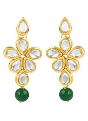 Gold and Green Engagement Ear Rings