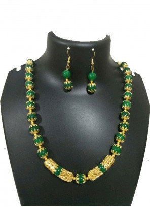Gold and Green Moti Necklace Set