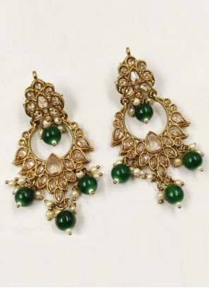 Gold and Green Moti Party Ear Rings