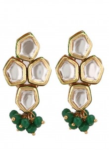 Gold and Green Party Ear Rings