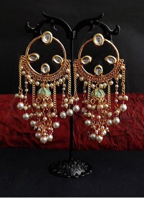 Gold and Green Sangeet Ear Rings