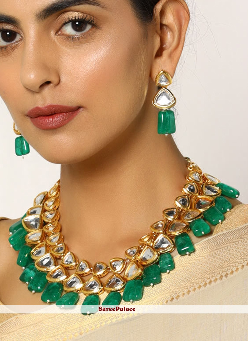 Gold and Green Stone Bridal Jewellery