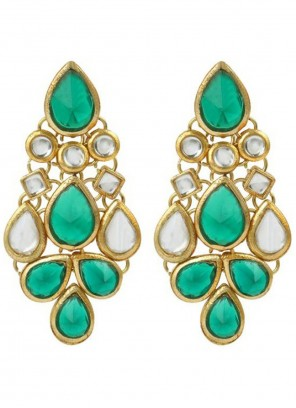 Gold and Green Stone Work Ceremonial Ear Rings