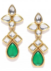 Gold and Green Stone Work Ear Rings