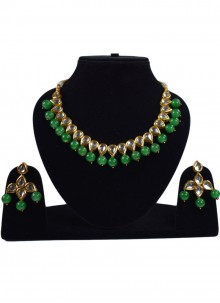 Gold and Green Stone Work Necklace Set