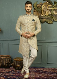 Gold and Grey Embroidered Party Indo Western