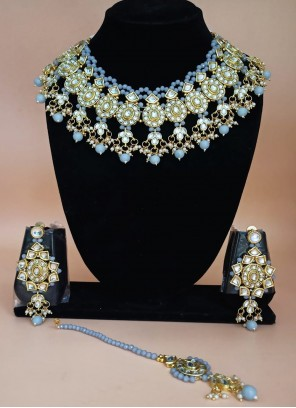 Gold and Grey Moti Engagement Necklace Set