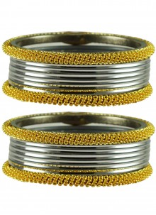 Gold and Grey Stone Work Bangles