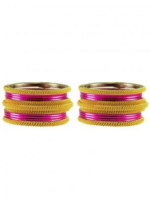 Gold and Hot Pink Bangles