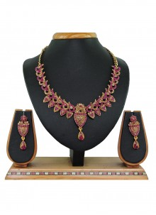 Gold and Hot Pink Reception Necklace Set