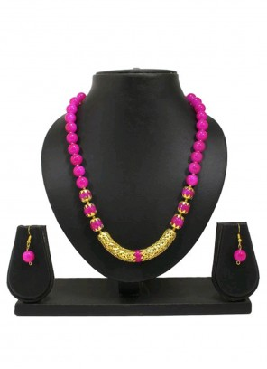 Gold and Magenta Moti Mehndi Necklace Set