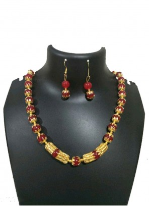 Gold and Maroon Festival Necklace Set