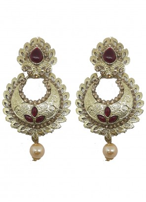 Gold and Maroon Moti Ear Rings